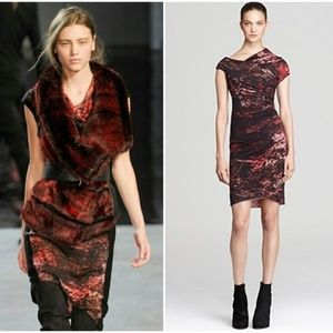 Helmut Lang Midnight Floral Red Mini Dress